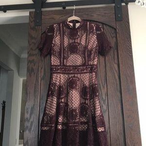 NWT A-line burgundy lace dress.